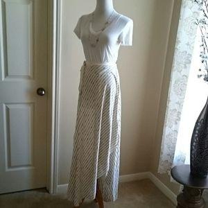 Zara long asymmetrical striped maxi skirt
